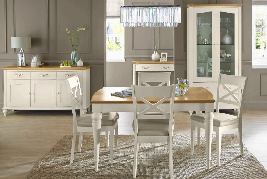 bentley designs montreaux pale oak antique white dining